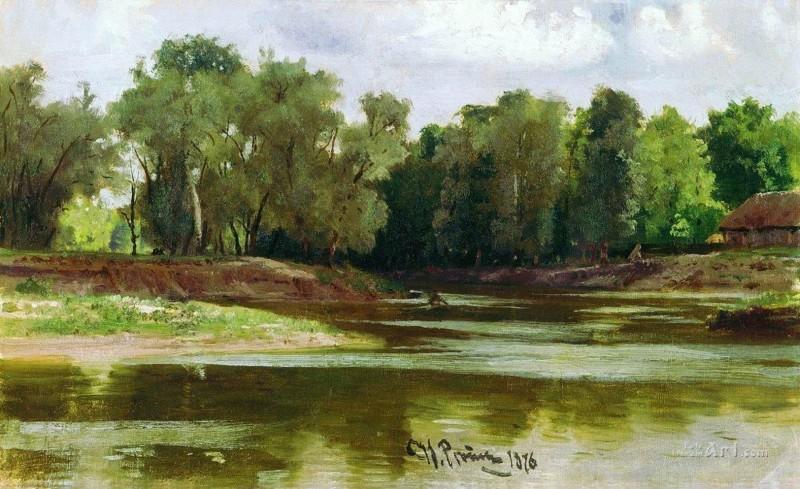 Берег реки  печать на холсте, натянут Репин Илья - фото 1