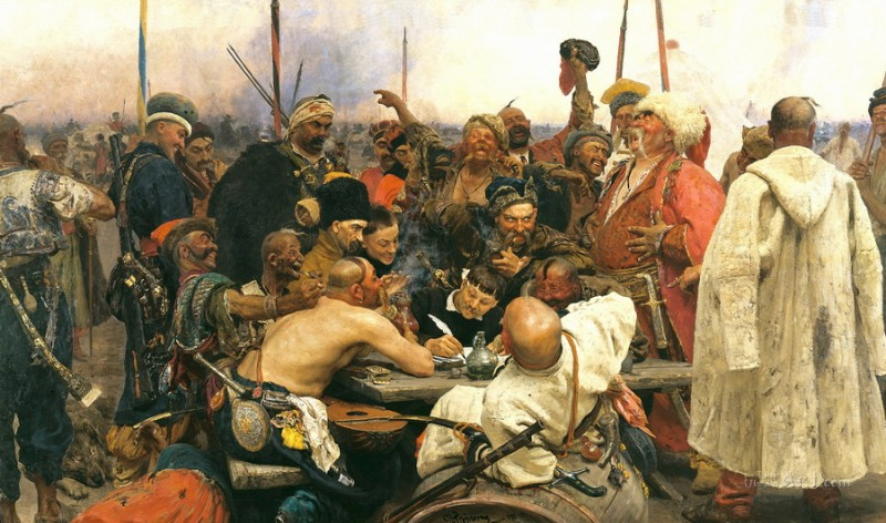 Запорожцы, сочиняющие письмо турецкому султану  печать на холсте, натянут Репин Илья - фото 1