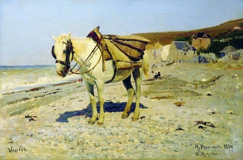 Лошадь для сбора камней в Вёле  печать на холсте, натянут Репин Илья - фото 1
