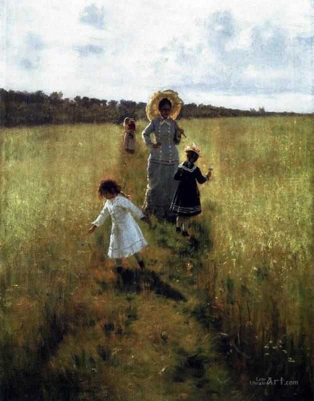 На меже. В.А.Репина с детьми идет по меже  печать на холсте, натянут Репин Илья - фото 1