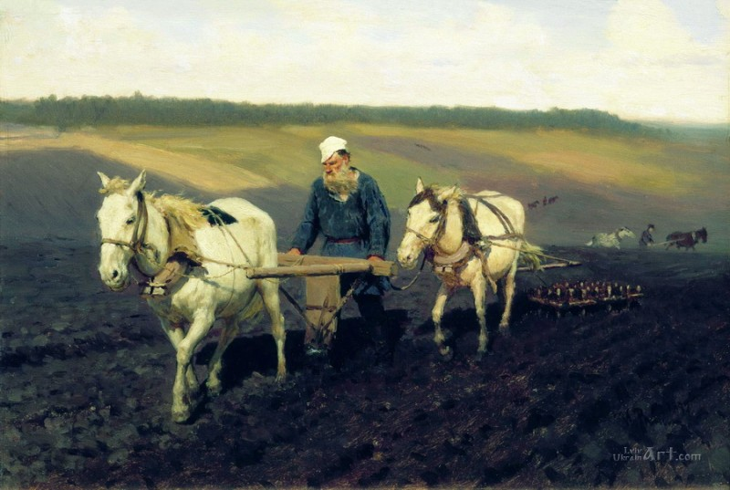 Пахарь Лев Толстой на пашне  печать на холсте, натянут Репин Илья - фото 1