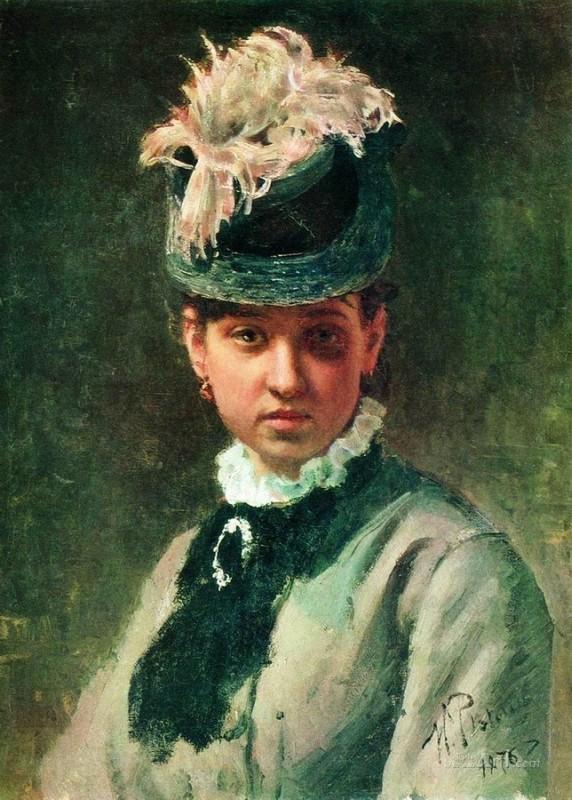 Портрет В.А.Репиной, жены художника  печать на холсте, натянут Репин Илья - фото 1