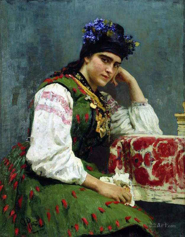 Портрет М.И.Драгомировой  печать на холсте, натянут Репин Илья - фото 1