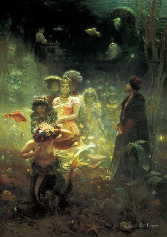 Садко в Подводном царстве  печать на холсте, натянут Репин Илья - фото 1