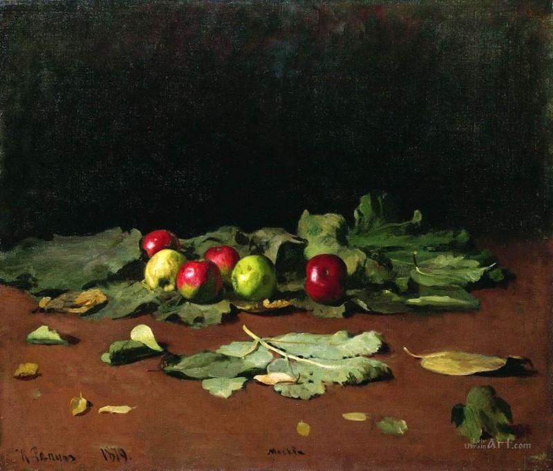 Яблоки и листья  печать на холсте, натянут Репин Илья - фото 1