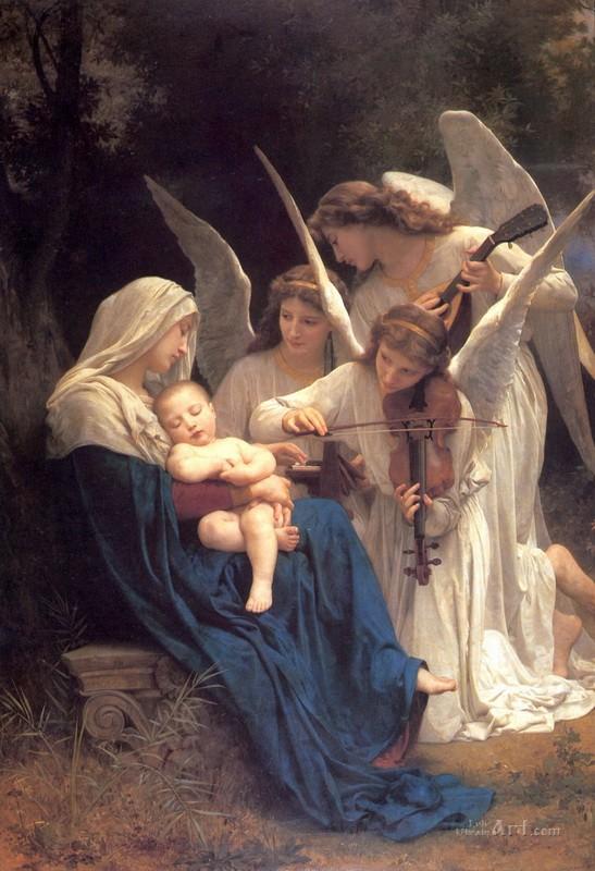 Песнь ангелов  печать на холсте, натянут Бугеро Вильям-Адольф - фото 1