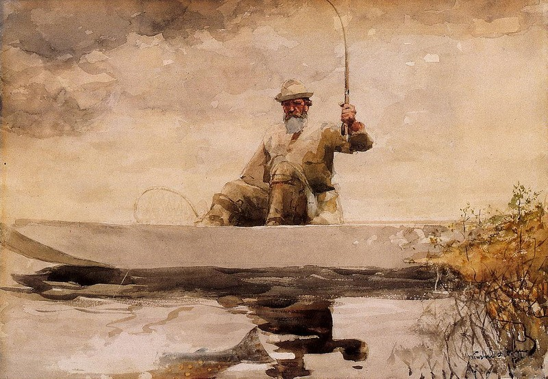 Рыбалка в горах Адирондак  печать на холсте, натянут Хомер Уинслоу - фото 1