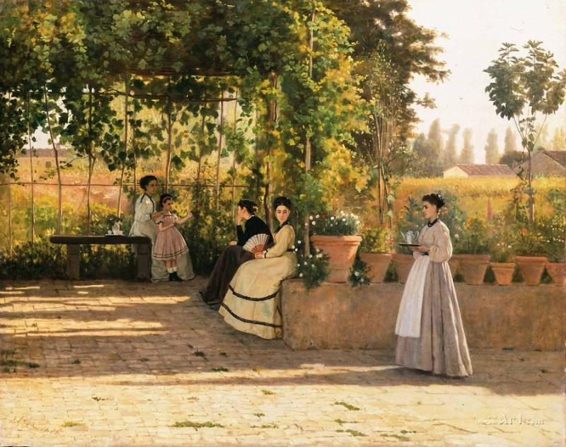В виноградной беседке  печать на холсте, натянут Лега Сильвестро - фото 1