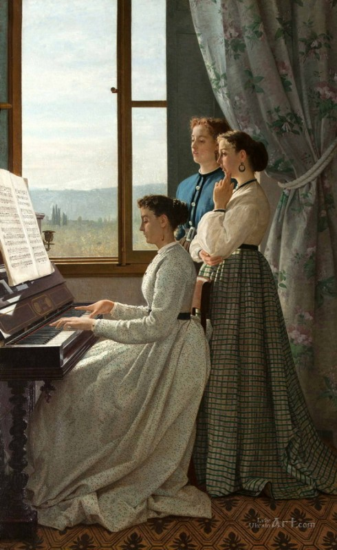 Домашний концерт  печать на холсте, натянут Лега Сильвестро - фото 1