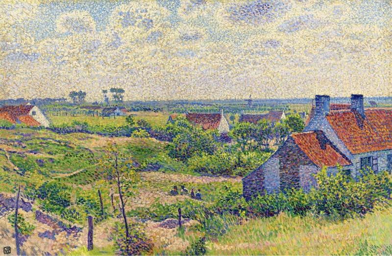 Пейзаж с домами  печать на холсте, натянут Рейссельберге Тео ван - фото 1