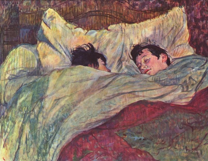 Две девушки в кровати  печать на холсте, натянут Тулуз-Лотрек Анри де - фото 1