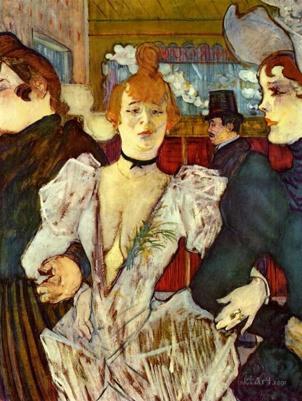 Ла Гулю, входящая в Мулен Руж с двумя женщинами  печать на холсте, натянут Тулуз-Лотрек Анри де - фото 1