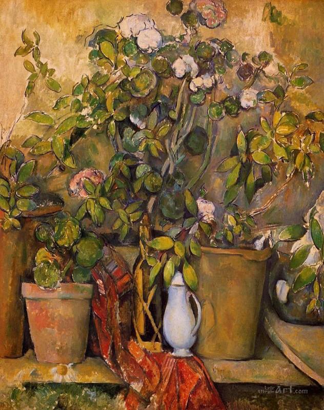 Глиняные горшки и цветы  печать на холсте, натянут Сезанн Поль - фото 1