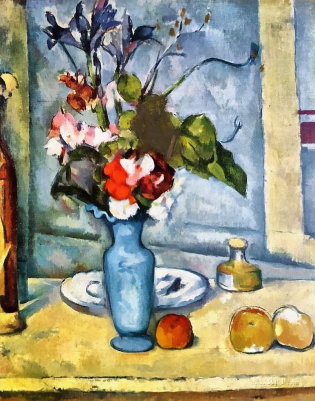 Голубая ваза  печать на холсте, натянут Сезанн Поль - фото 1