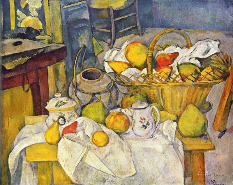 Натюрморт с корзиной фруктов  печать на холсте, натянут Сезанн Поль - фото 1