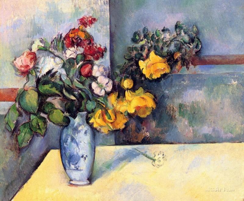 Натюрморт с цветами в вазе  печать на холсте, натянут Сезанн Поль - фото 1