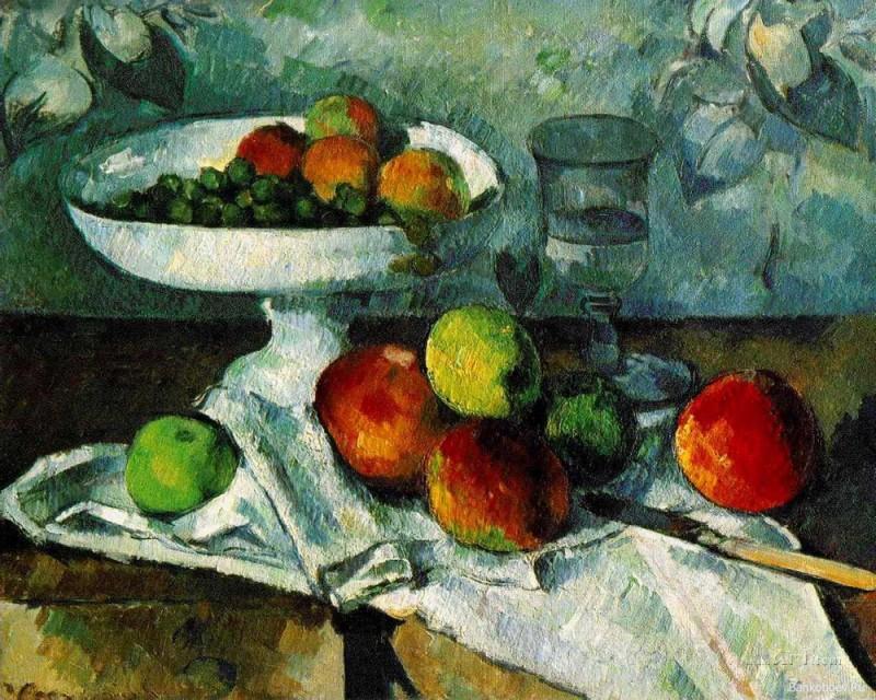 Чаша с фруктами  печать на холсте, натянут Сезанн Поль - фото 1