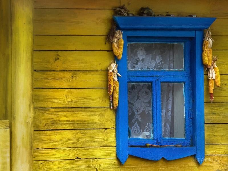 Окно бабушкиного дома  печать на холсте, натянут UkrainArt - фото 1