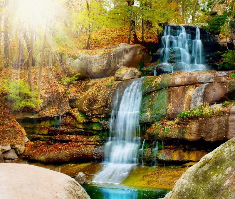 Водопад в лесу  печать на холсте, натянут UkrainArt - фото 1