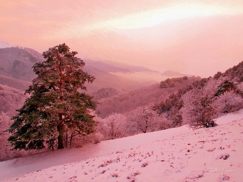 Зима в горах  печать на холсте, натянут UkrainArt - фото 1