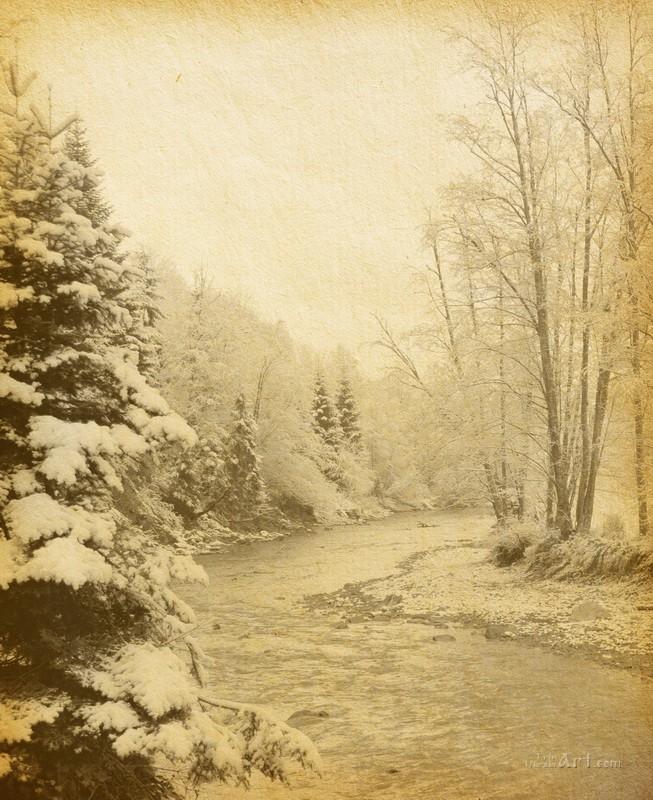 Зимняя горная река  печать на холсте, натянут UkrainArt - фото 1