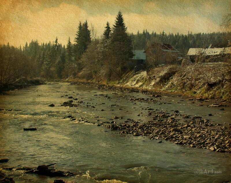 Карпатская река  печать на холсте, натянут UkrainArt - фото 1