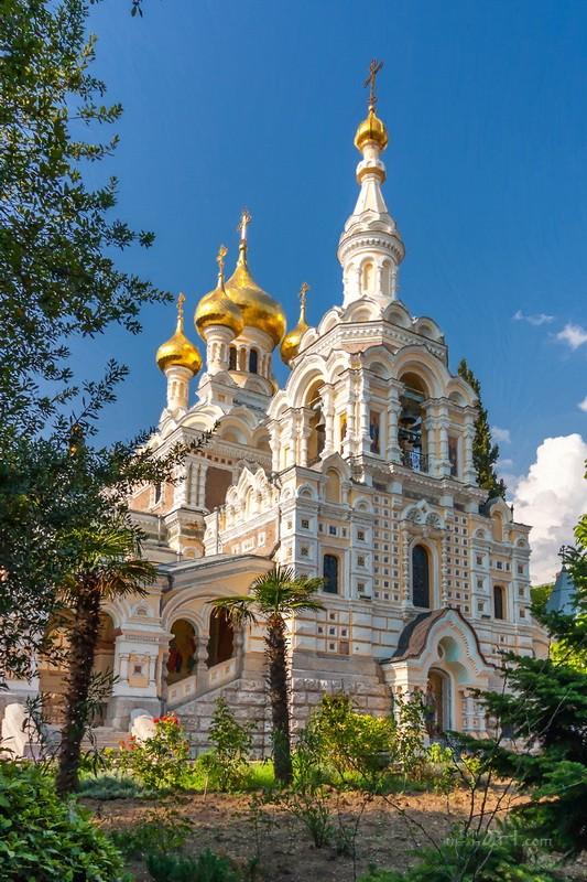 Кафедральный собор святого Александра Невского. Ялта, Крым  печать на холсте, натянут UkrainArt - фото 1