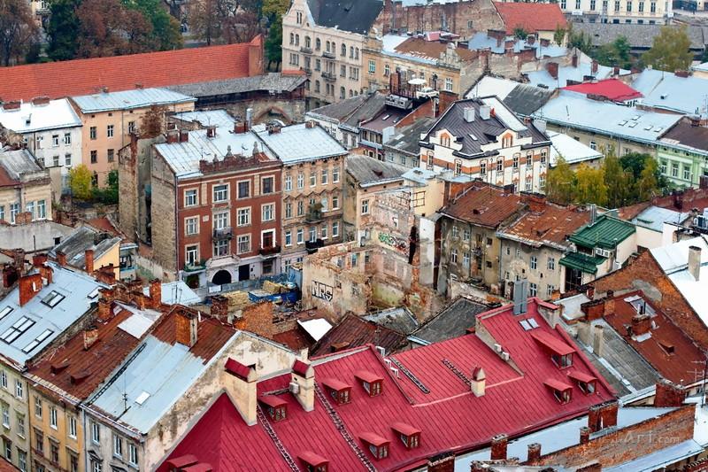 Львовские крыши  печать на холсте, натянут UkrainArt - фото 1