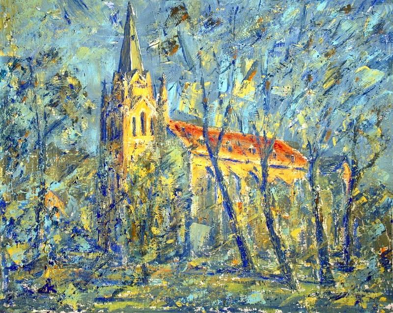 Рисованный собор  печать на холсте, натянут UkrainArt - фото 1