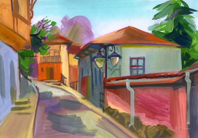 Рисованный пейзаж  печать на холсте, натянут UkrainArt - фото 1