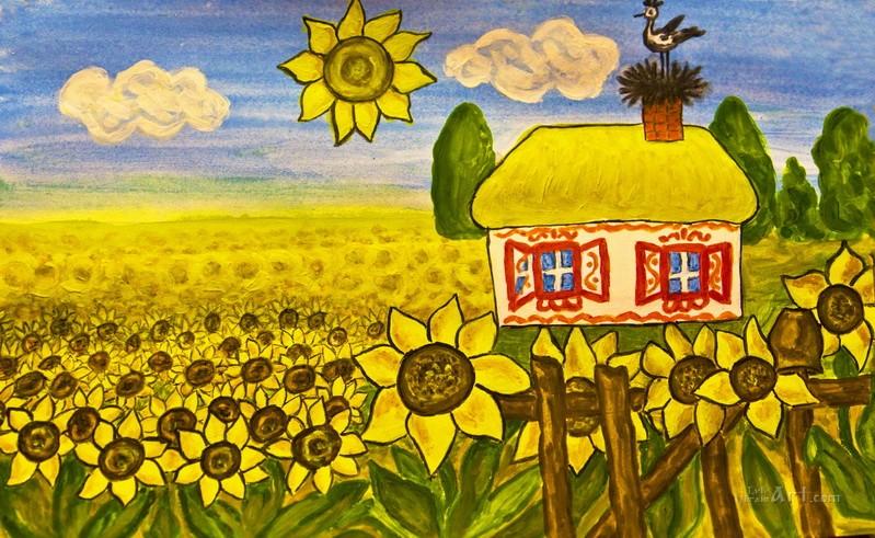 Украинская хата  печать на холсте, натянут UkrainArt - фото 1