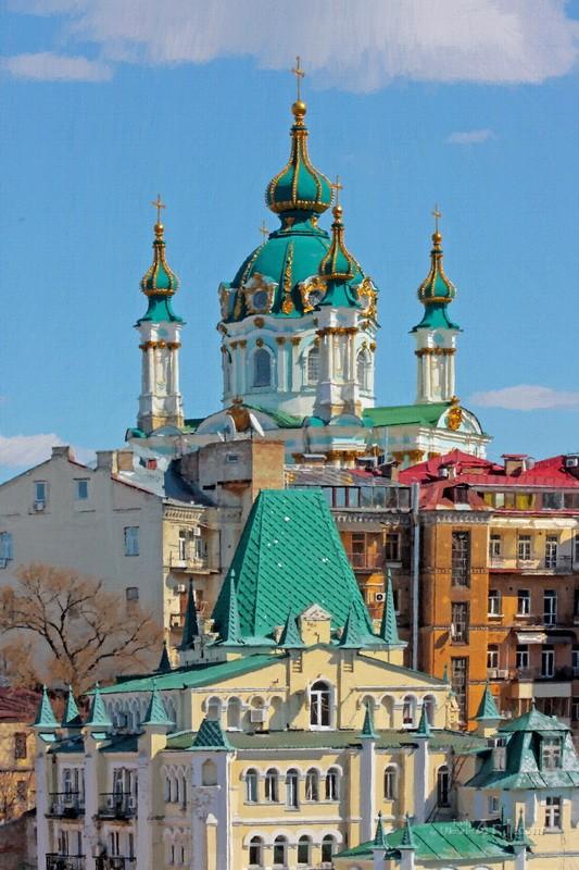 Храм св. Андрея в Киеве  печать на холсте, натянут UkrainArt - фото 1