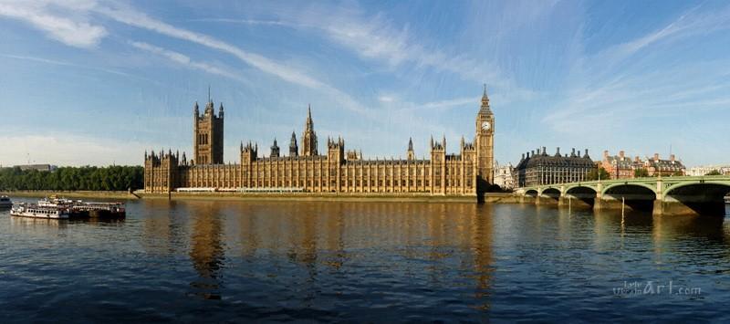 Дом Парламента и часовая башня в Лондоне  печать на холсте, натянут UkrainArt - фото 1