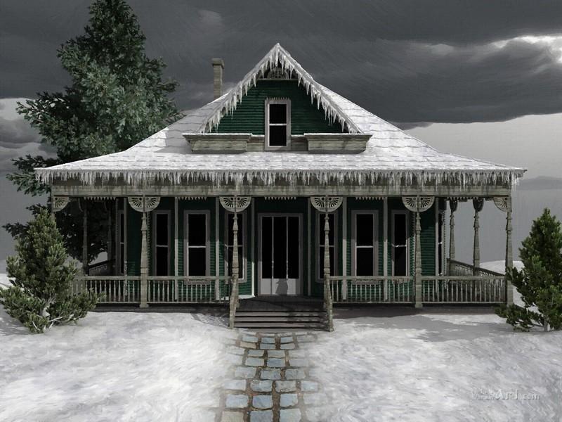Замерзший дом  печать на холсте, натянут UkrainArt - фото 1