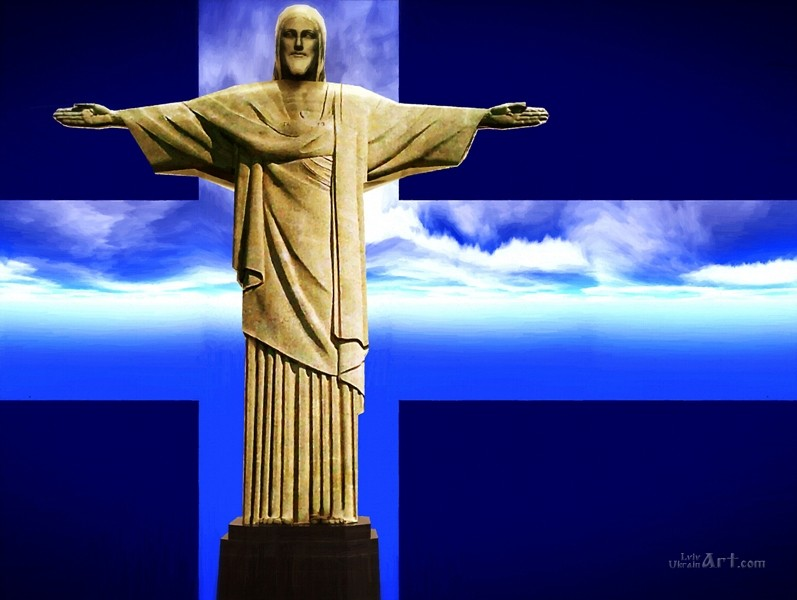 Иисус - Спаситель в Бразилии  печать на холсте, натянут UkrainArt - фото 1