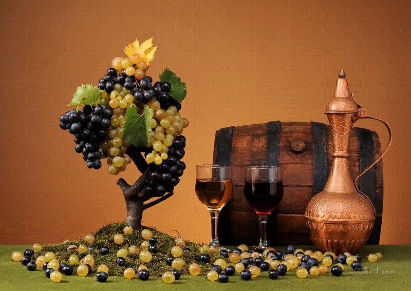 Натюрморт с виноградом  печать на холсте, натянут UkrainArt - фото 1