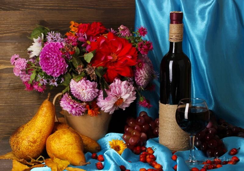 Натюрморт с вином  печать на холсте, натянут UkrainArt - фото 1