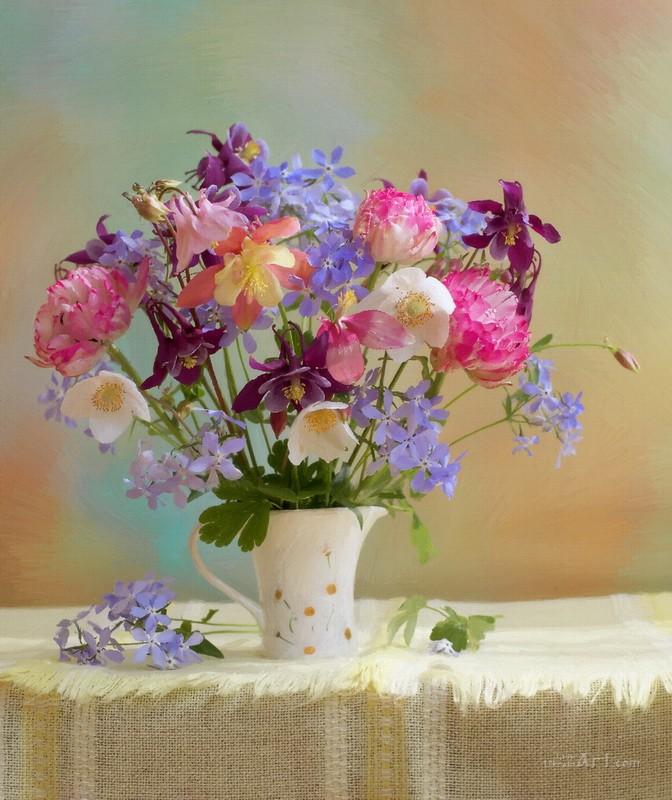 Натюрморт из цветов  печать на холсте, натянут UkrainArt - фото 1