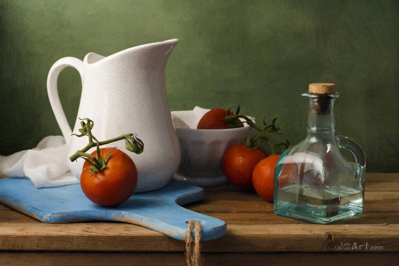Натюрморт с помидорами  печать на холсте, натянут UkrainArt - фото 1