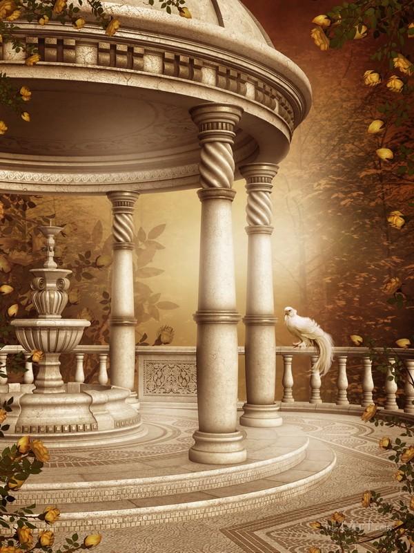 Осенний пейзаж со старым фонтаном  печать на холсте, натянут UkrainArt - фото 1