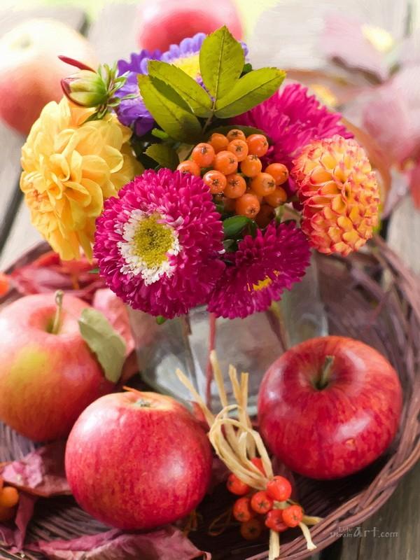 Яблоки и цветы  печать на холсте, натянут UkrainArt - фото 1