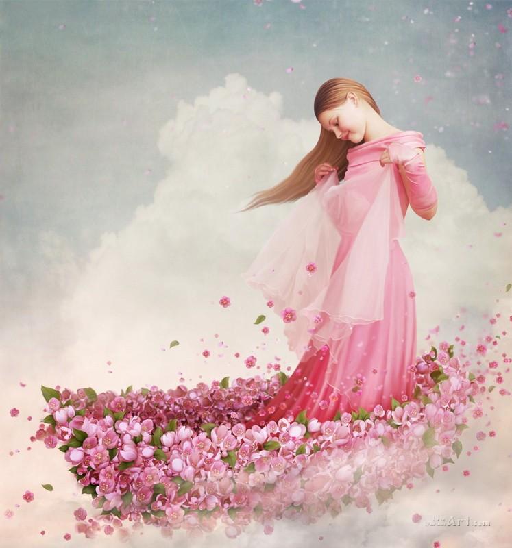 В лодочке из цветов  печать на холсте, натянут UkrainArt - фото 1
