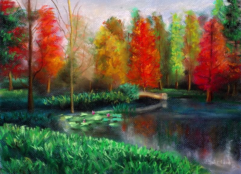 Рисованный осенний пейзаж  печать на холсте, натянут UkrainArt - фото 1