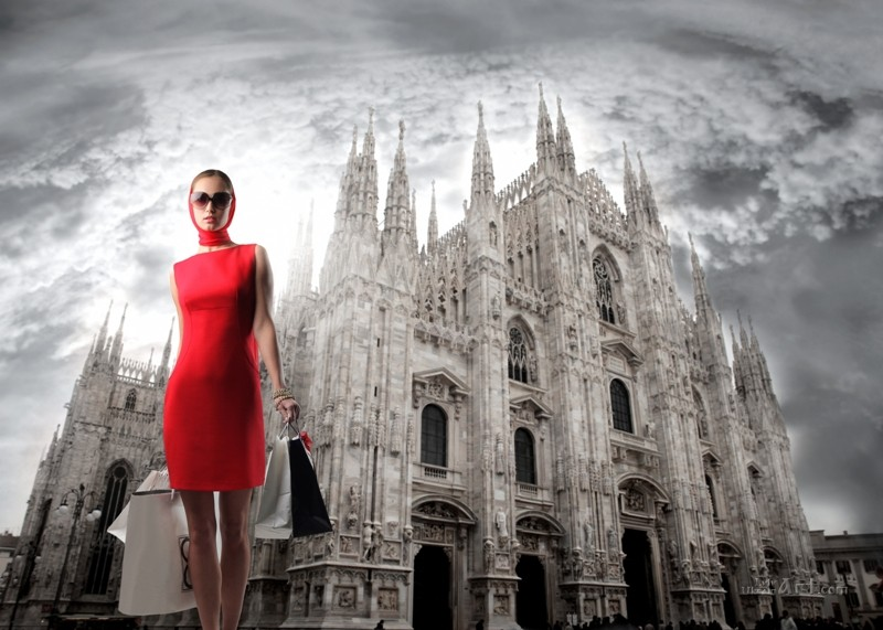 Милан и модель в красном  печать на холсте, натянут UkrainArt - фото 1