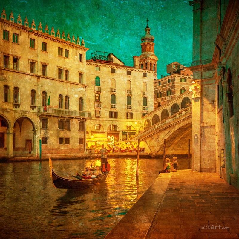 Венеция вечером  печать на холсте, натянут UkrainArt - фото 1
