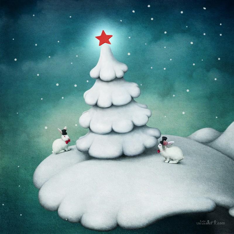Новогодняя елка  печать на холсте, натянут UkrainArt - фото 1