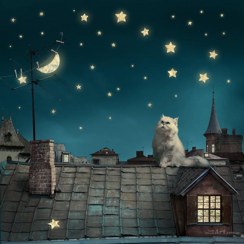 Кот на крыше  печать на холсте, натянут UkrainArt - фото 1