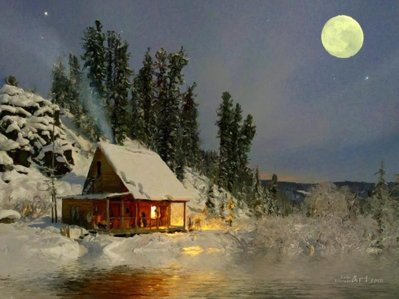 Ночной пейзаж  печать на холсте, натянут UkrainArt - фото 1
