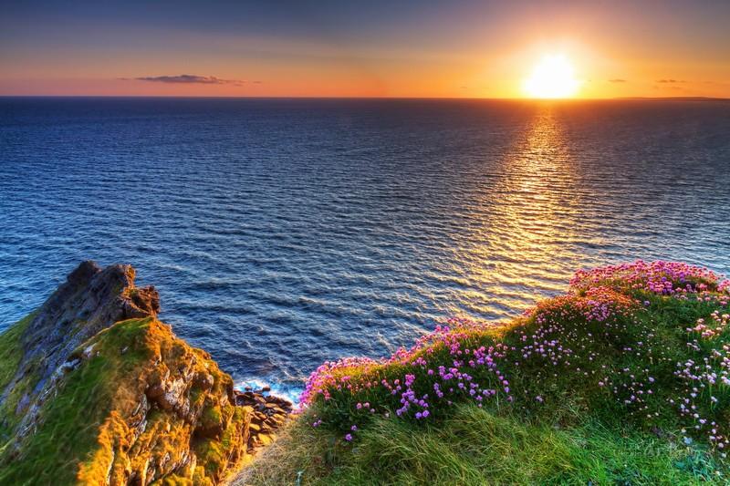 Закат солнца на море  печать на холсте, натянут UkrainArt - фото 1