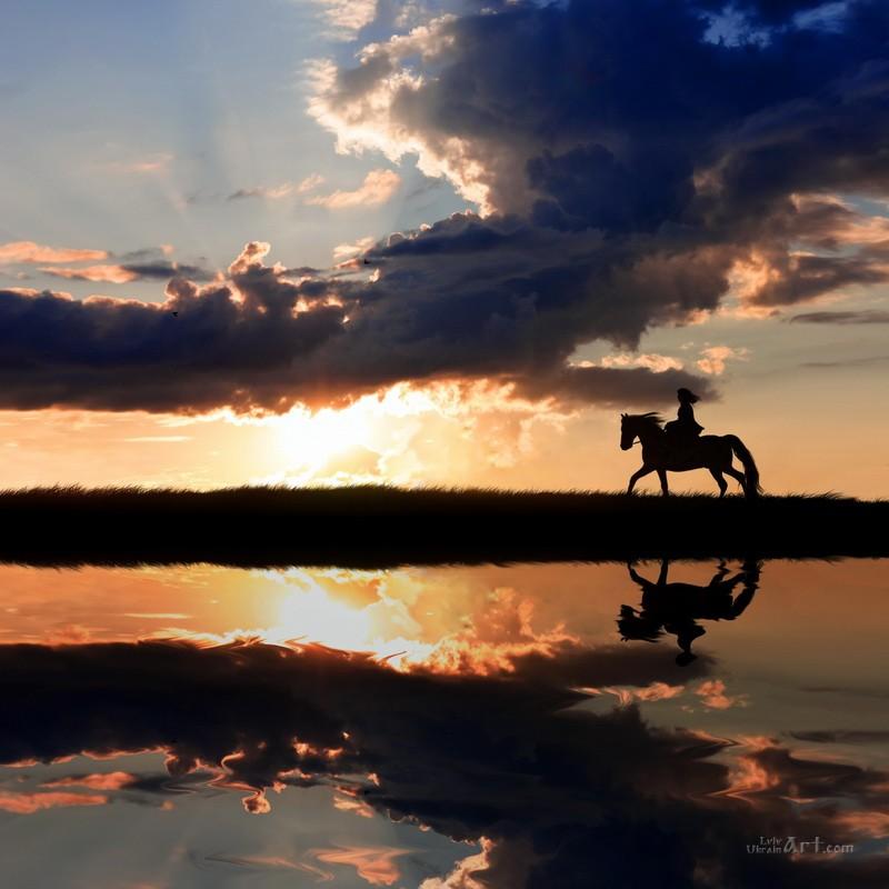 Верховая езда  печать на холсте, натянут UkrainArt - фото 1